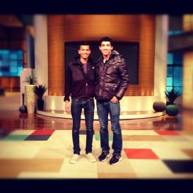 Darien Hutchinson and Devin Torkelsen On the set of the Steve Harvey show