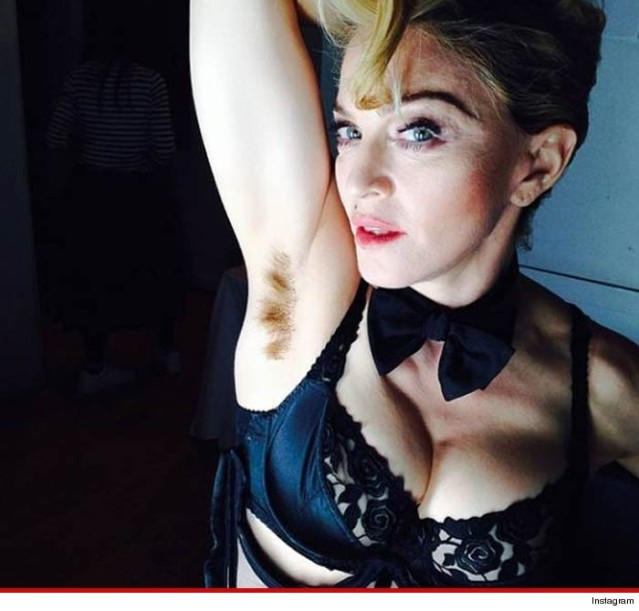 Madonna features her long haired armpits on her instagram to remain relevant...