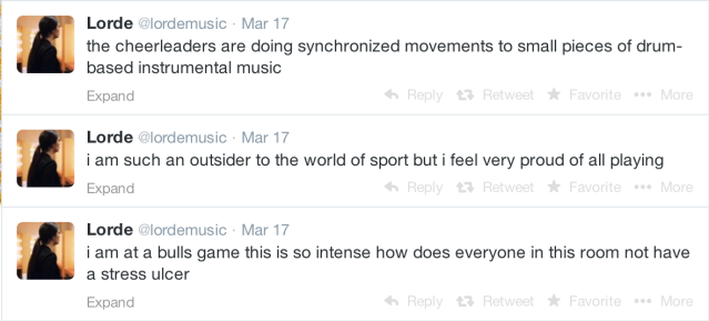 Lorde tweets her interesting viewpoint at the United Center for a Bulls Game