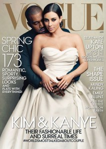 Kim Kardashian and Kanye West on the cover of Vogue. April, 2014.