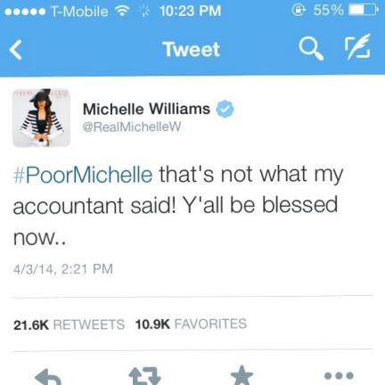 Michelle Williams responds to infamous '#PoorMichelle' hashtag on Twitter