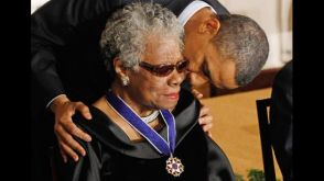 Maya Angelou is awarded the Presidential Medal of Freedom by President Obama.