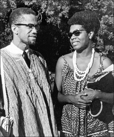 Malcolm X is photographed with a younger Maya Angelou above.