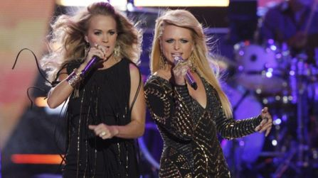 """Carrie Underwood and Miranda Lambert took on the CMT stage on Wednesday to perform their duet """"Something Bad"""""""