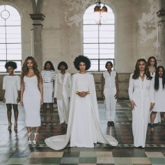 Beyoncé, Solange, and Mama Tina as well as other female guest take a photo at Solange's wedding in New Orleans on Sunday, Nov. 16, 2014.