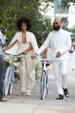 Solange and Alan Ferguson rode bikes to their wedding in New Orleans!