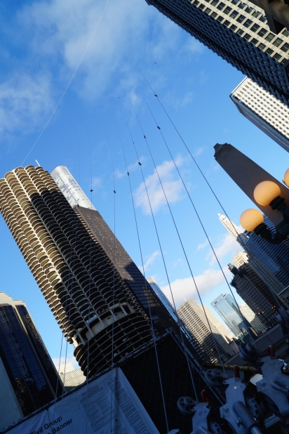 The tightrope is set for Sunday's stunt in Chicago as Nick Wallenda will walk on a wire over the Chicago River. [Photo by Devin Torkelsen]