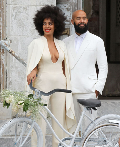 Solange and Alan Ferguson with the bikes they broke to their wedding in New Orleans on Sunday, Nov. 16.