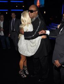 Lady Gaga hugging Stevie Wonder at Stevie Wonder: Songs In The Key of Life – An All-Star Grammy Salute event on Feb. 10, 2015.