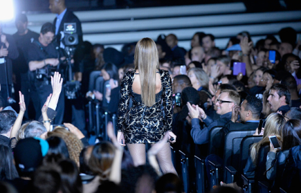 Beyoncé walking through the crowd performing at Stevie Wonder: Songs In The Key of Life – An All-Star Grammy Salute event on Feb. 10, 2015.