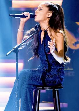 Ariana Grande performing at Stevie Wonder: Songs In The Key of Life – An All-Star Grammy Salute event on Feb. 10, 2015.