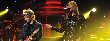 Beyoncé and Ed Sheeran performing at Stevie Wonder: Songs In The Key of Life – An All-Star Grammy Salute event on Feb. 10, 2015.