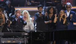 Tony Bennet, Lady Gaga, Jennifer Hudson, Jill Scott, and Ariana Grande at Stevie Wonder: Songs In The Key of Life – An All-Star Grammy Salute event on Feb. 10, 2015.