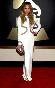 Chrissy Teigen at the 57th annual Grammy Awards