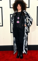 Mila Hunter at the 57th annual Grammy Awards.