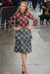 Blake Lively looking darling in this Marc Jacobs 2015 plaid coat at Good Morning America