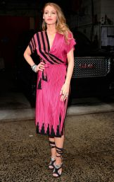 Blake was loving the pink, so she wore this cute pink and blake wrap dress by Kristini