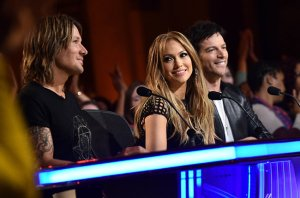 Keith Urban, Jennifer Lopez, and Harry Connick Jr. judging American Idol on FOX on March 5, 2015.
