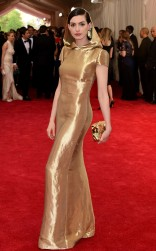 Anne Hathaway at the 2015 Met Gala on May 4, 2015 at the Costume Institute Benefit Gala at the Metropolitan Museum of Art in New York.