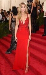 Gigi Hadid at the 2015 Met Gala on May 4, 2015 at the Costume Institute Benefit Gala at the Metropolitan Museum of Art in New York.