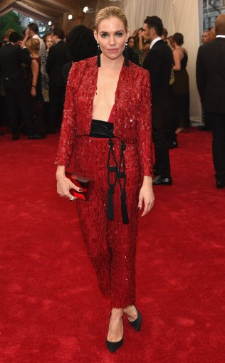 Sienna Miller at the 2015 Met Gala on May 4, 2015 at the Costume Institute Benefit Gala at the Metropolitan Museum of Art in New York.