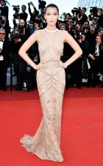 Bella Hadid in Roberto Cavalli on her first Cannes red carpet