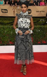 Janelle Monae at the 2017 Screen Actors Guild Awards (SGA Awards) Red Carpet on Jan. 29, 2017.