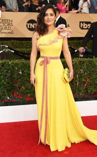 Selma Hayek at the 2017 Screen Actors Guild Awards (SGA Awards) Red Carpet on Jan. 29, 2017.