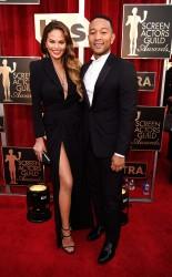Chrissy Teigen and John Legend at the 2017 Screen Actors Guild Awards (SGA Awards) Red Carpet on Jan. 29, 2017.