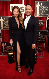 Chrissy Teigen and John Legend at the 2017 Screen Actors Guild Awards (SGA Awards) Red Carpet on Jan. 29, 2017.