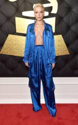 Halsey on the 59th annual Grammy Awards red carpet in Los Angeles on February 12, 2017.