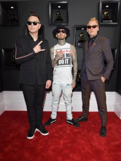 Blink-182 on the 59th annual Grammy Awards red carpet in Los Angeles on February 12, 2017.