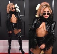 Lady Gaga on the 59th annual Grammy Awards red carpet in Los Angeles on February 12, 2017.