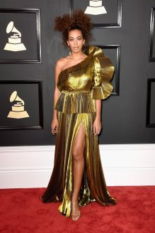 Solange Knowles on the 59th annual Grammy Awards red carpet in Los Angeles on February 12, 2017.