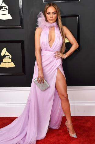 Jennifer Lopez on the 59th annual Grammy Awards red carpet in Los Angeles on February 12, 2017.