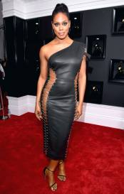 Laverne Cox on the 59th annual Grammy Awards red carpet in Los Angeles on February 12, 2017.