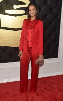 Mya on the 59th annual Grammy Awards red carpet in Los Angeles on February 12, 2017.