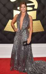 Cassadee Popeon the 59th annual Grammy Awards red carpet in Los Angeles on February 12, 2017.