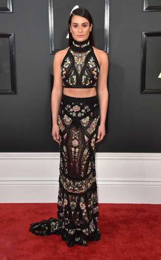 Lea Micheleon the 59th annual Grammy Awards red carpet in Los Angeles on February 12, 2017.
