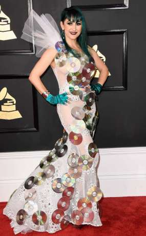 Jacqueline van Bierk on the 59th annual Grammy Awards red carpet in Los Angeles on February 12, 2017.
