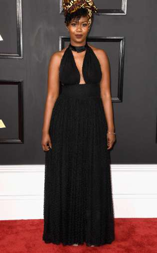 Jaime Woods on the 59th annual Grammy Awards red carpet in Los Angeles on February 12, 2017.