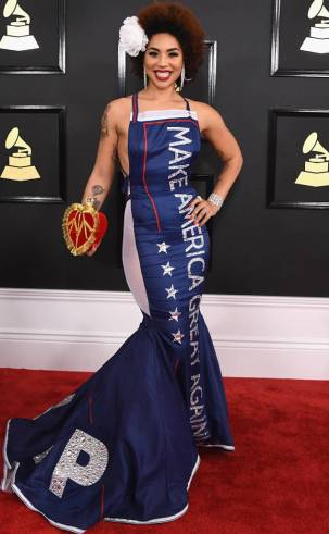 Joy Villa on the 59th annual Grammy Awards red carpet in Los Angeles on February 12, 2017.