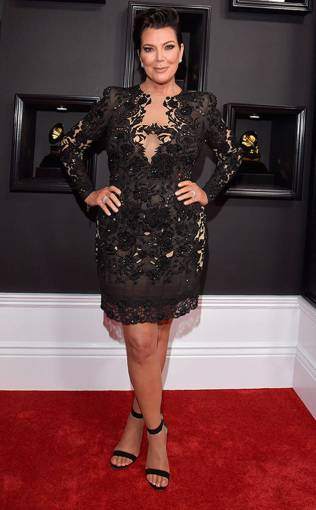Kris Jenner on the 59th annual Grammy Awards red carpet in Los Angeles on February 12, 2017.