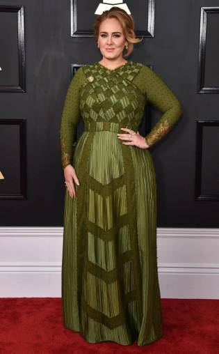 Adele in Givenchy on the 59th annual Grammy Awards red carpet in Los Angeles on February 12, 2017.