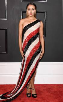 Kat Graham on the 59th annual Grammy Awards red carpet in Los Angeles on February 12, 2017.