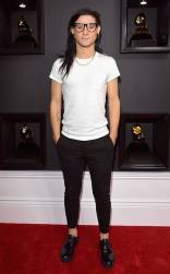 Skrillex on the 59th annual Grammy Awards red carpet in Los Angeles on February 12, 2017.
