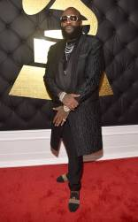 Rick Ross on the 59th annual Grammy Awards red carpet in Los Angeles on February 12, 2017.