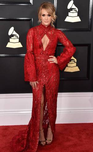 Carrie Underwood on the 59th annual Grammy Awards red carpet in Los Angeles on February 12, 2017.