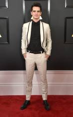 Brandon Urie on the 59th annual Grammy Awards red carpet in Los Angeles on February 12, 2017.