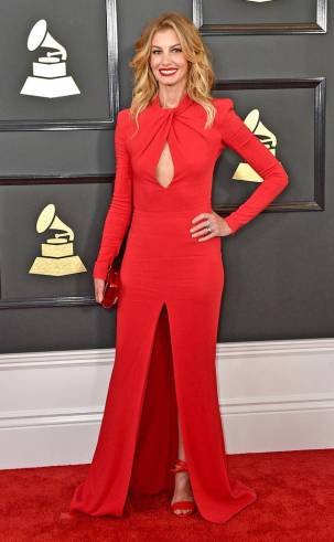 Faith Hill on the 59th annual Grammy Awards red carpet in Los Angeles on February 12, 2017.